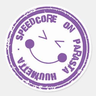 Speedcore on parasta huumetta tarra/sticker classic round sticker