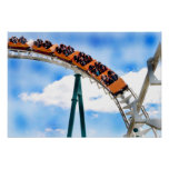 Speeding Orange Roller Coaster Poster