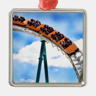 Speeding Orange Roller Coaster Silver-Colored Square Decoration