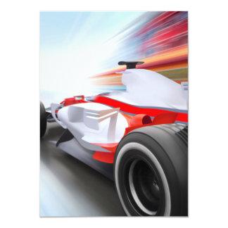 Speeding Red Race Car 11 Cm X 16 Cm Invitation Card