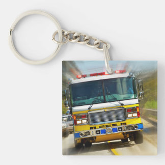 Speeding Yellow Firetruck Double-Sided Square Acrylic Key Ring