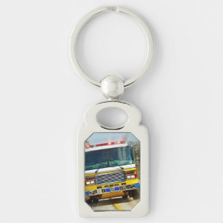 Speeding Yellow Firetruck Silver-Colored Rectangle Key Ring