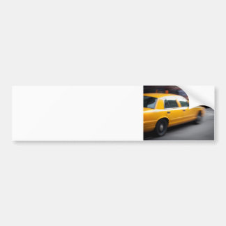 Speeding Yellow NY City Taxi Cab with Motion Blur Bumper Sticker