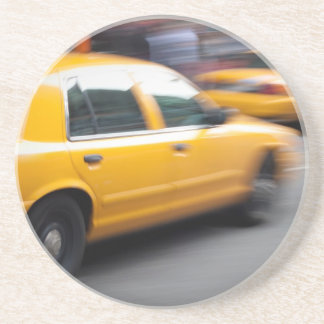 Speeding Yellow NY City Taxi Cab with Motion Blur Coasters