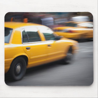 Speeding Yellow NY City Taxi Cab with Motion Blur Mouse Pad