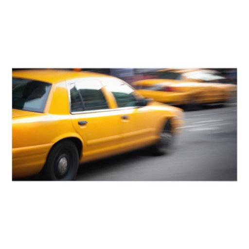 Speeding Yellow NY City Taxi Cab with Motion Blur Picture Card