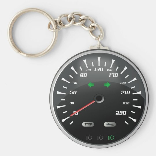 Speedometer Basic Round Button Key Ring