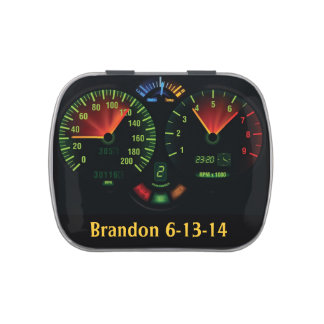 Speedometer Odometer Design Party Candy Container Jelly Belly Tins