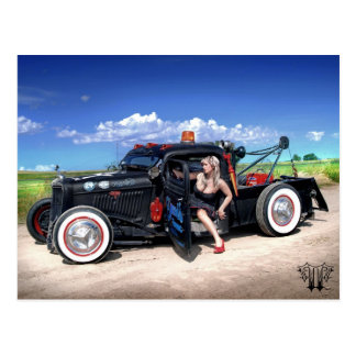 Speed's Towing Rat Rod Wrecker Pin Up Postcard