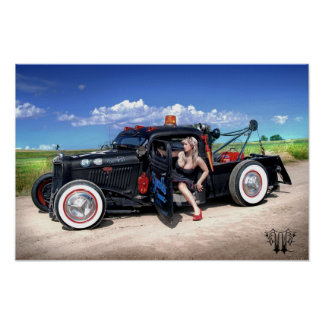 Speed's Towing Rat Rod Wrecker Pin Up Poster