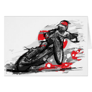 Speedway Flat Track Motorcycle Racer Greeting Card
