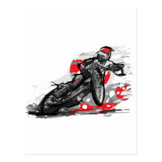 Speedway Flat Track Motorcycle Racer Postcard