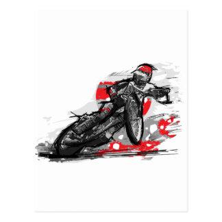 Speedway Flat Track Motorcycle Racer Postcard