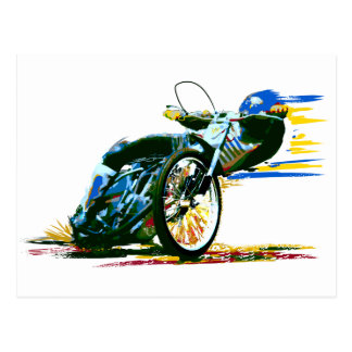 Speedway Motorcycle Racer Painting Postcard