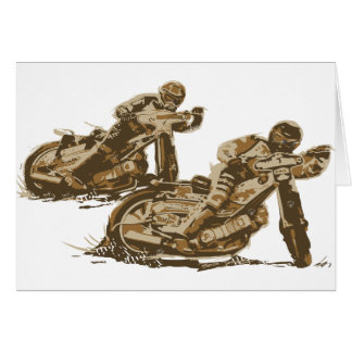 Speedway Motorcycle Racers Greeting Card
