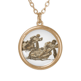 Speedway Motorcycle Racers Round Pendant Necklace