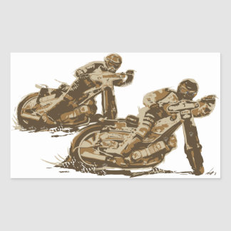 Speedway Motorcycle Racers Rectangle Stickers