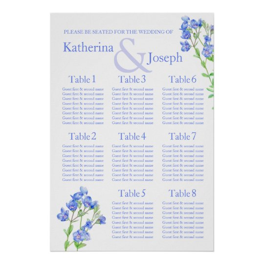 Speedwell blue Wedding Seating Table Planner 1-8 Poster