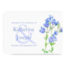 Speedwell flower watercolor blue wedding invite
