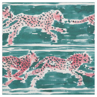 SPEEDY CHEETAHS Safari Boho Chic Watercolor Fabric