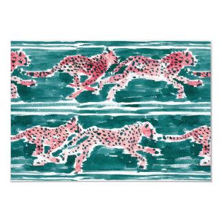 SPEEDY CHEETAHS Safari Watercolor Flat Card 9 Cm X 13 Cm Invitation Card