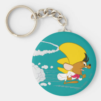 Speedy Gonzales Running in Color Basic Round Button Key Ring