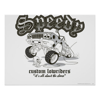 Speedy Gonzalez Custom Lowriders B/W Poster
