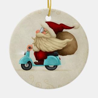Speedy Santa Claus Round Ceramic Decoration