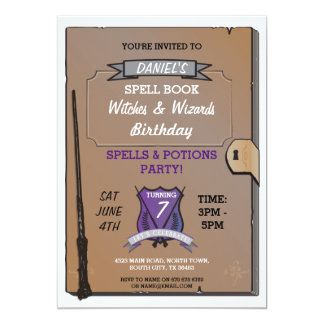 Spell Book Wizards Witches Birthday Party Invite