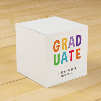 Spelled Out Fun Graduation Party Favor Box