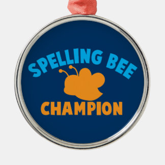 Spelling Bee Champion Silver-Colored Round Decoration