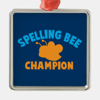 Spelling Bee Champion Silver-Colored Square Decoration