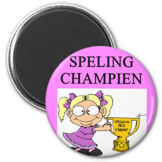 spelling champion joke 6 cm round magnet