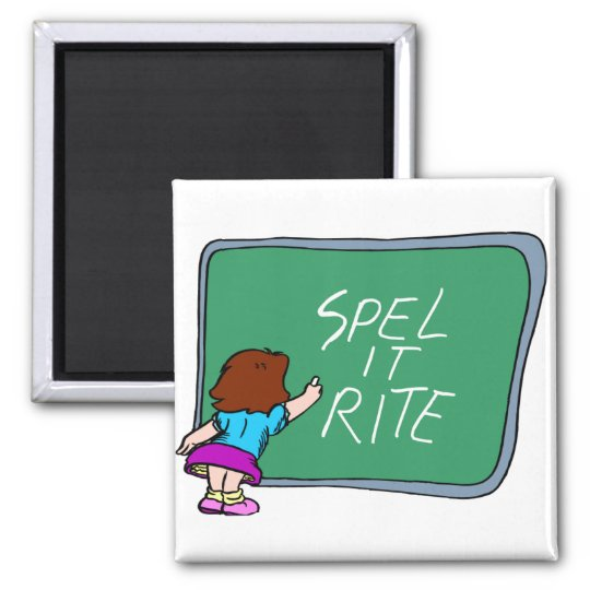 Spelling Lessons On Chalkboard Square Magnet
