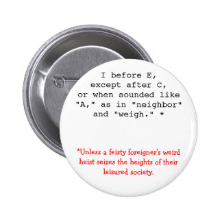 Spelling Rules: I before E Pinback Button