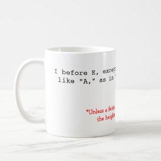 Spelling Rules: I before E Basic White Mug