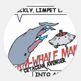 Sperm Whale Man Action Classic Round Sticker