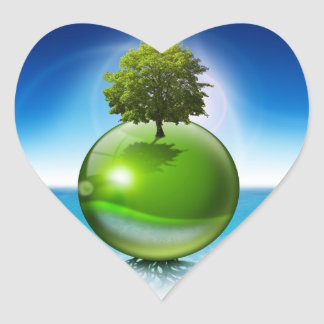 Sphere tree -  ecology concept heart sticker
