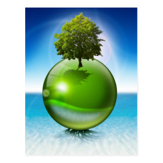 Sphere tree -  ecology concept postcard