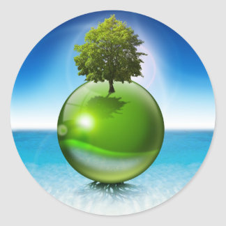 Sphere tree -  ecology concept round sticker