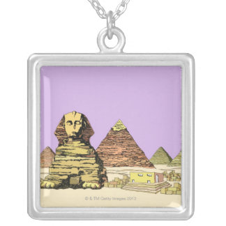 Sphinx and a Pyramid Silver Plated Necklace