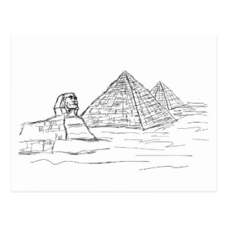 sphinx and pyramids of Egypt Postcard
