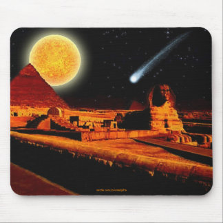 Sphinx & Moon over Egyptian Giza Pyramids Art Gift Mouse Mat