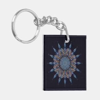 Sphinx Moth Pattern Blue Mandala Monogram Keychain Double-Sided Square Acrylic Keychain