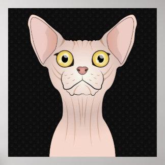 Sphynx Cat Cartoon Paws Print