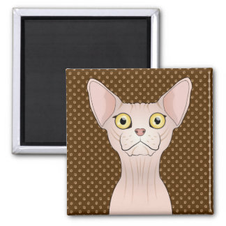 Sphynx Cat Cartoon Paws Square Magnet