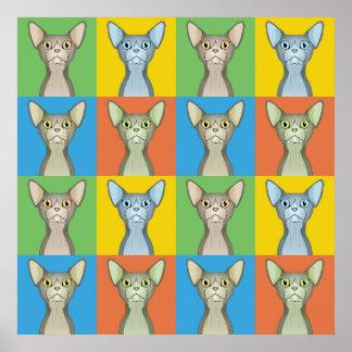 Sphynx Cat Cartoon Pop-Art (Bi-Color) Poster