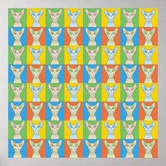 Sphynx Cat Cartoon Pop-Art Poster
