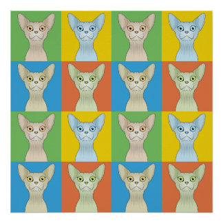 Sphynx Cat Cartoon Pop-Art Print