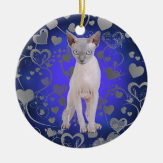 Sphynx cat Double-Sided ceramic round christmas ornament